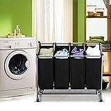 Ollieroo Laundry Sorter Cart 4-Bag Classics Rolling