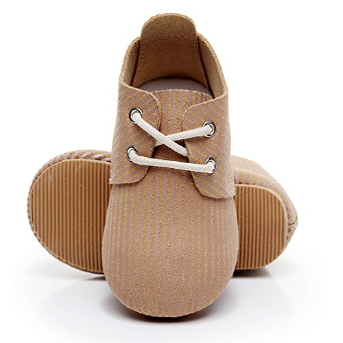 HONGTEYA Genuine Leather Baby Oxford Shoes - Hard Soled Suede Babies Toddler Moccasins for Girls Boys(24-32 Months/US 7/5.5