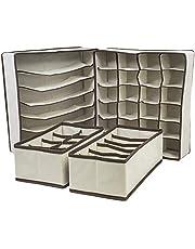 مجموعة من 4 فواصل أدراج قابلة للطي، وصناديق تخزين، ومنظمات للخزانة ومنظمات تحت السرير