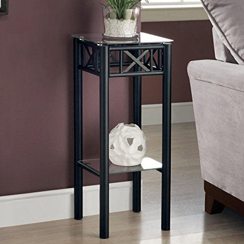 Monarch Specialties I 3078 Metal with Tempered Glass Accent Table, ()