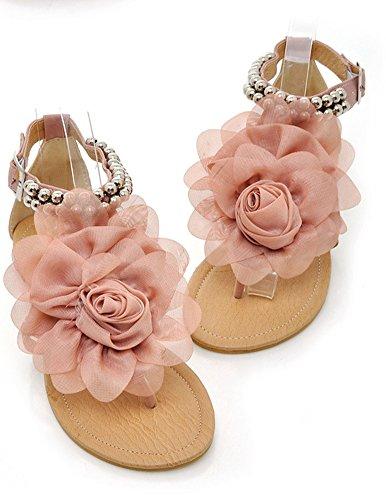 Sandales Rose Aisun Dentelle Fleur Femme Talon Plat Chic fpqg7
