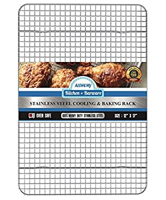 Oven Safe Cooling & Baking Rack. Easy to Clean 100% Stainless Steel. Heavy Duty Quality with a Tight-Grid 10 X 15 inch. Fits Half Cookie Sheet or Jelly Roll Pan- Baking, Cooking, Roasting or Grilling.