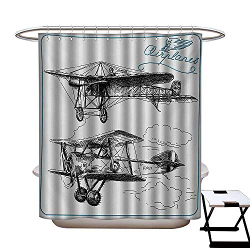 ains Sets Bathroom Classic Nostalgic Planes Aircraft Propeller in The Sky Fast Travel Wings Sketch Satin Fabric Sets Bathroom W69 x L70 Blue Black ()