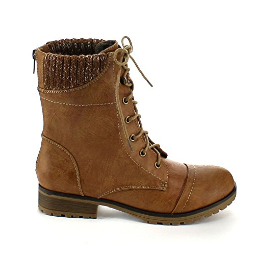 70off Refresh Womens Sweater Cuff Lace Up Combat Boots