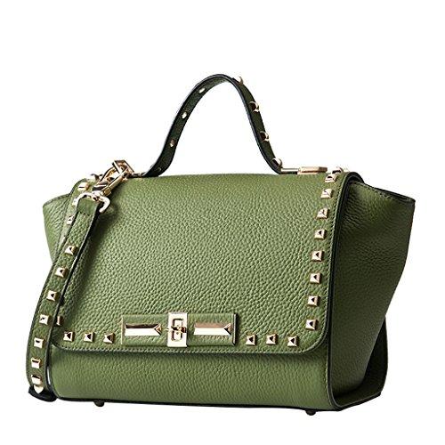 delle a borse elaborazione primo cuoio Mena di borse delle dimensioni Totes per Il donne le donne borse Nero tracolla qualità di UK Handbags di Colore di strato Verde delle cuoio di 33cm dell'unità vvOgrEWB1q