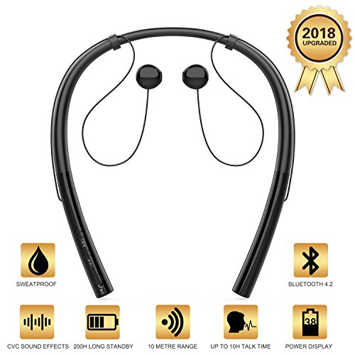 V4.2 Bluetooth Running Headphones Wireless Neckband Headset Sport Earphones CVC Noise Canceling Bluetooth Earbuds With Microphone for iPhone X/8/7/6 Android Samsung