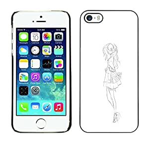 Colorful Printed Hard Protective Back Case Cover Shell Skin for Apple iPhone 5 / iPhone 5S ( Fashion Sketch White Black Dress )