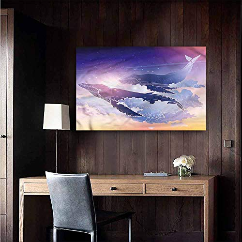 Gabriesl 3D Murals Stickers Wall Decals Whale Dreamy Night with Clouds Rental House Wall Size : W20 x H16 (Dreamy Nights Wall Border)