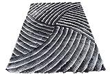 Grey Gray 3D Striped Shag Shaggy Soft Plush High Pile Fluffy Fuzzy Furry Area Rug Carpet 5×7 Living Room Bedroom Decorative Designer Modern Contemporary Soft Sale (SAD 259 Gray)