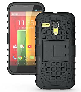 JKase DIABLO Series Tough Rugged Dual Layer Protection Case Cover with Build in Stand for Motorola Moto G SmartPhone (2013 1st Gen Only) - Retail Packaging (Black)