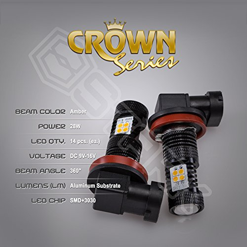 2x 28W Kit 3000 lm Bulbs – Crown Series 3030 Max Intensity – 14 pcs SMD Chip Projector DRL or Fog Lights – H11 H8 H9 H16 – Amber Yellow