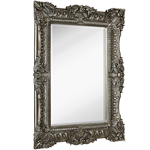 Classic Vanity Antique - Large Ornate Antique Silver Pewter Baroque Frame Mirror | Aged Luxury | Elegant Rectangle Wall Piece | Vanity, Bedroom, or Bathroom | Hangs Horizontal or Vertical | 100% (30