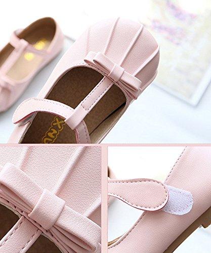 Vokamara Kinder Süß Bogen T-Strap Mary-Jane Formale Schuhe Pink
