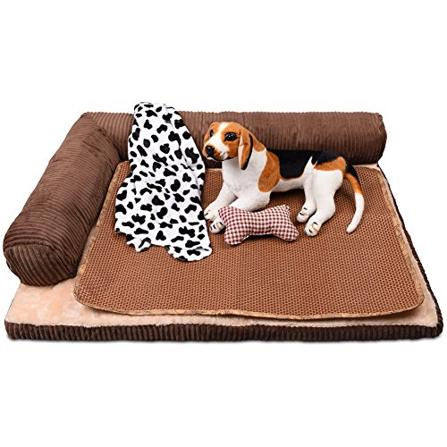 Petacc Dog Bed Detachable Dog Sofa Pet Crate Pad, Blanket, Pillow,Summer Sleeping Mat SizeM(27.3