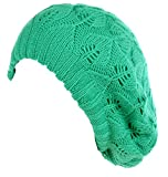 BYOS Winter Chic Warm Double Layer Leafy Cutout Crochet Knit Slouchy Beret Beanie Hat (Emerald Green Leafy)