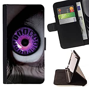 BETTY - FOR Apple Iphone 5 / 5S - Pink Clowing Eye - Style PU Leather Case Wallet Flip Stand Flap Closure Cover