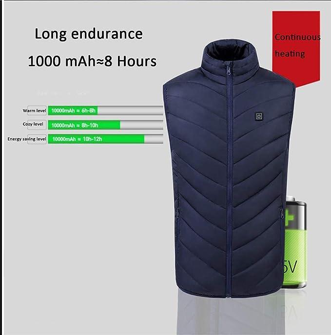 YuanDiann Homme Chauffant Veste sans Manche Matelass/é Lavable USB Aliment/é /Électrique Chauff/é Gilet en Doudoune De Plein Air S/écurit/é Intelligente V/êtements De Chauffage
