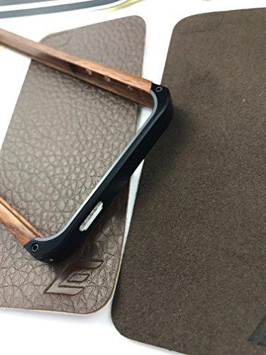 Qualità UK–Apple Iphone 5FE in legno e alluminio custodia in metallo con retro in camoscio e pelle, colore, Proteggi Schermo incluso, colore: oro, argento e nero, qualità UK STOCK–Custodia, Color