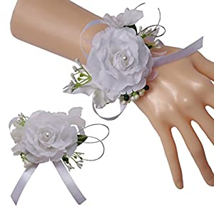Steen Wedding Bride Bridesmaid Simulation Roses Pearl Corsage and Boutonniere Set of 2 112