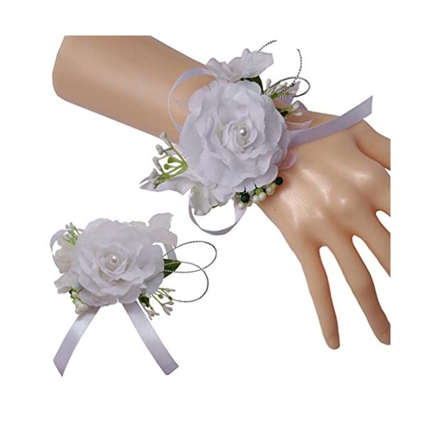 Steen-Wedding-Bride-Bridesmaid-Simulation-Roses-Pearl-Corsage-And-Boutonniere-Set-of-2