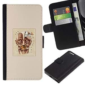 Dibujo Cartel Pintura de la cara- la tarjeta de Crédito Slots PU Funda de cuero Monedero caso cubierta de piel Para Apple (5.5 inches!!!) iPhone 6+ Plus / 6S+ Plus