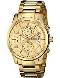 Mens U0075G5 Dressy Gold-Tone Stainless Steel Multi-Function Watch with Chronograph Dial and Deployment Buckle
