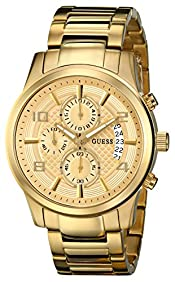 GUESS Men's U0075G5 Dressy Gold-Tone Stainless Steel Multi-Function Watch with Chronograph Dial and Deployment Buckle
