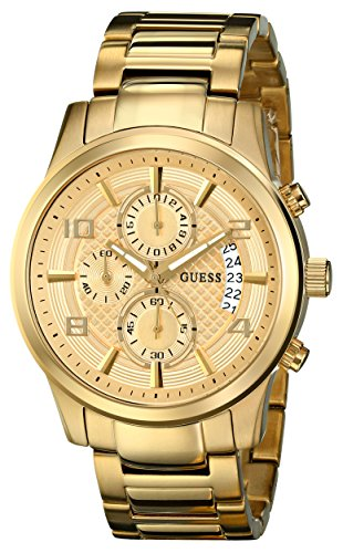 GUESS-Mens-U0075G5-Dressy-Gold-Tone-Stainless-Steel-Multi-Function-Watch-with-Chronograph-Dial-and-Deployment-Buckle