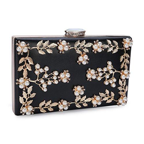 60e89d09b7e Chichitop Women s Floral Pearl Beaded Evening Handbags Party Clutch Bridal  Purse Black