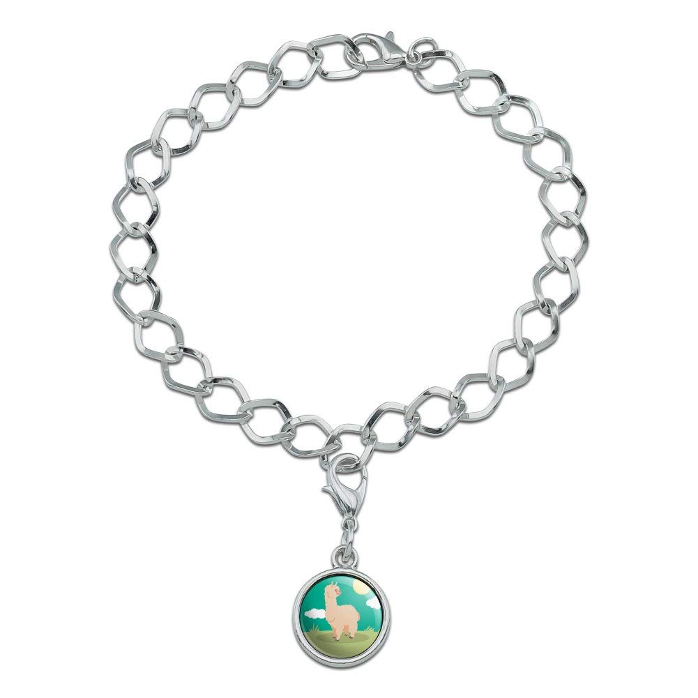 GRAPHICS /& MORE Cute and Fluffy Alpaca Silver Plated Bracelet with Antiqued Charm