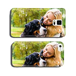 Woman cuddling with dog in park cell phone cover case iPhone6