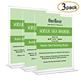 Acrylic Sign Holder 8.5 x 11, Plastic Document Holder, Flyer Brochure Paper Holder, Table Top Display Stand Ad Frame (3 Pack)