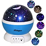 Star Night Light Projector for Kids, Blingco Children's Night Light Lamp, Baby Rotating Star Projector, 4 LED Bulbs 8 Color Changing Modes With USB Cable, Unique Gifts for Kids Baby Children (Blue)