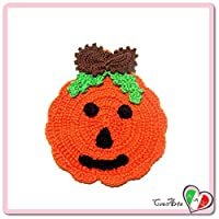 Orange Crochet pumpkin potholder for Halloween - Size: 4.5 inch x 5.5 inch H - Handmade - ITALY