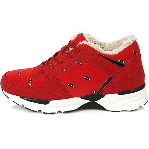 New Casual Fashion Athletic Winter Warm Lace Up High Top Womens Shoes Red f0A7C