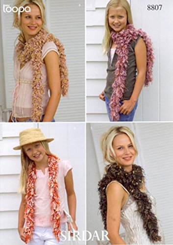 Sirdar Ladies Loopy Scarves Knitting Pattern -