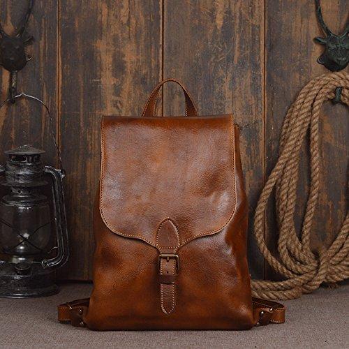 Handmade Women Men Classic Vegetable Tanned Leather Shoulder Bag Backpack Bag(Brown)