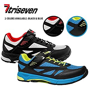 TriSeven Mountain MTB Shoes - Lightweight, Breathable Synthetic Leather, Anti-Slip Heal & SPD/Indoor Cycling Compatible! (46) Blue