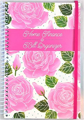 (Home Finance & Bill Organizer with Pockets (Pink Roses on White))