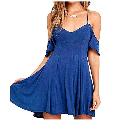 IHRKleid Mujeres Monos Vestido Atractivo para Verano Azul