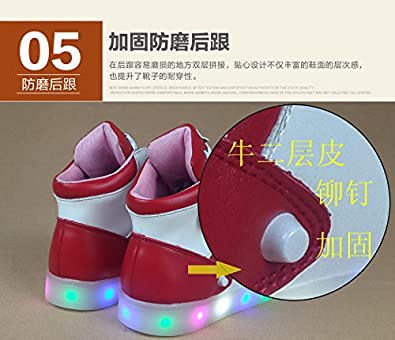 Gaorui Kid Boy LED Light Up High Top Sneaker Athletic Leather Shoe breathabe