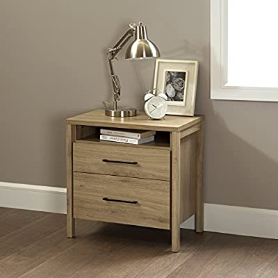 South Shore Gravity 2-Drawer Nightstand, Rustic Oak with Satin Nickel Finish Handles - BEDROOM STORAGE: Keep your books, eyeglasses and personal items organized and out of sight at your bedside with this elegant and practical nightstand. CONTEMPORARY STYLE: The bedside nightstand features modern design and contrasting metal handles, with clean lines that will blend with any bedroom décor or furniture. LIFESTYLE FURNITURE: The nightstand's 2 deep drawers are finished with a convenient open storage compartment for books above and an open back for easy wire management. - nightstands, bedroom-furniture, bedroom - 51RwxLJdeQL. SS400  -