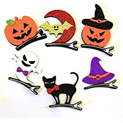 Tinksky 6pcs Halloween Masquerade Party Cosplay Hair Clips Pumpkin Bat Ghost Black Cat Witch Hat Hairpins Headwear Hair Accessories Children Kids Gifts Halloween Costumes