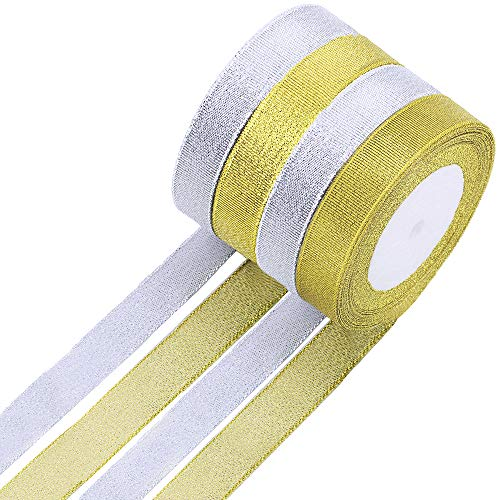 Supla 4 Rolls 100 Yard Holiday Christmas Metallic Glitter Ribbon Decorative Gift Ribbons Festive Trim in Gold and Silver for Gift Wrapping Floral Arrangements Hair Bows Wedding Party Decoration ()