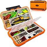 CatchMeister Fishing Tackle Box and Lure Kit Double Layer Hard Plastic 117 Piece Saltwater & Freshwater Fishing Rig