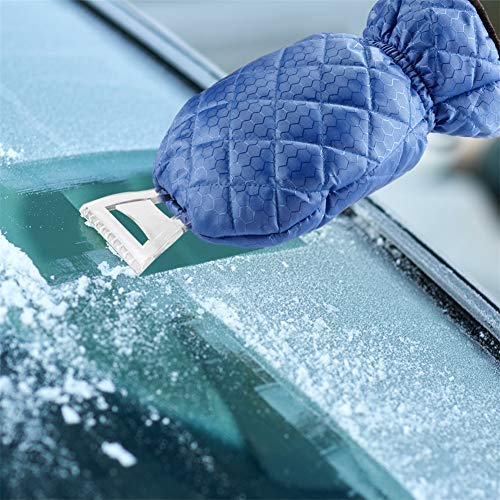 (JINJIAN Ice Scraper Glove Car Windshield Snow Scrapers Shovel Winter Cars Tool Accessories with Thick Fleece Lined Blue Mitt)