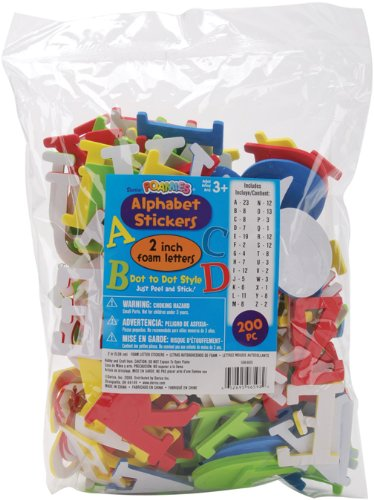 Darice 106-605 200/Pack Foamies Alphabet Sticker, 2-Inch, Assorted Color