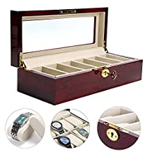 YaeKoo Wooden Watch Box 6 Slots Display Clear Top Jewelry Case Organizer (6 Slots)