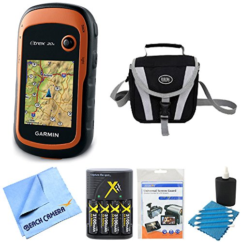 Garmin 010-01508-00 - eTrex 20x Handheld GPS Battery Bundle includes eTrex 20x GPS, Screen Protector 3-Pack, Cleaning Kit, Gadget Bag, AA Batteries and Charger and Microfiber Cleaning Cloth ()