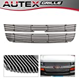 express grill - AUTEX 2pcs Chrome Polished Aluminum Main Upper Billet Grille Insert Compatible With 2003 2004 2005 2006 2007 2008 2009 2010 2011 2012 2013 2014 2015 2016 Chevy Express Grill C66436A